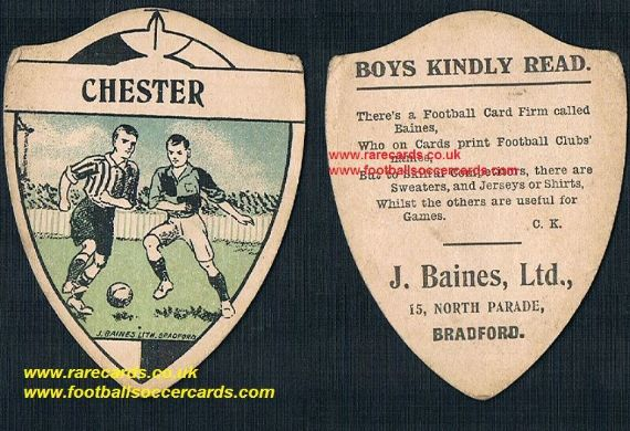 1916 Chester F.C. Baines card with poetry rhyme back